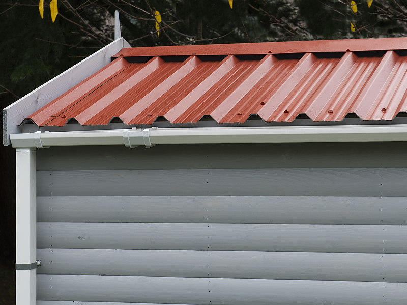 Standard Steel Roof in Terracotta on a Silver Grey Garage, Anthracite also available