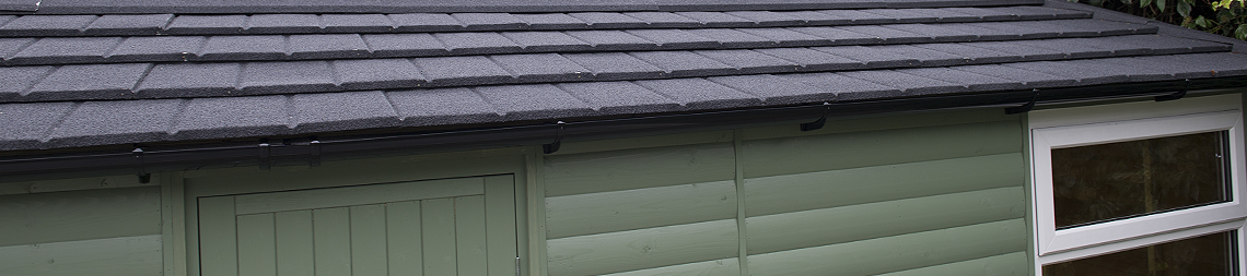 Britmet simulated tile roof in Slate grey