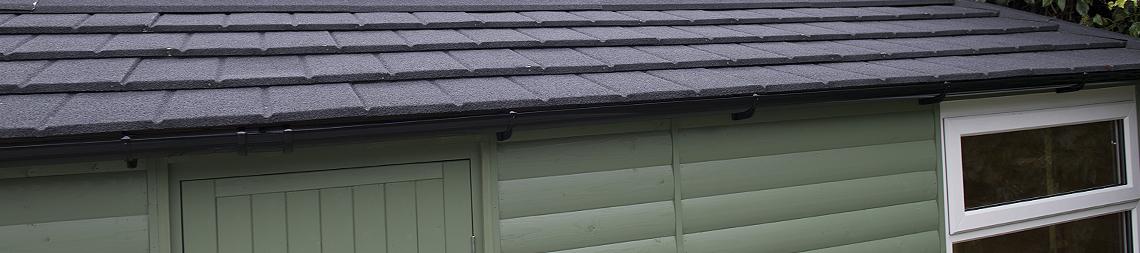 Britmet simulated tile roof in Slate grey