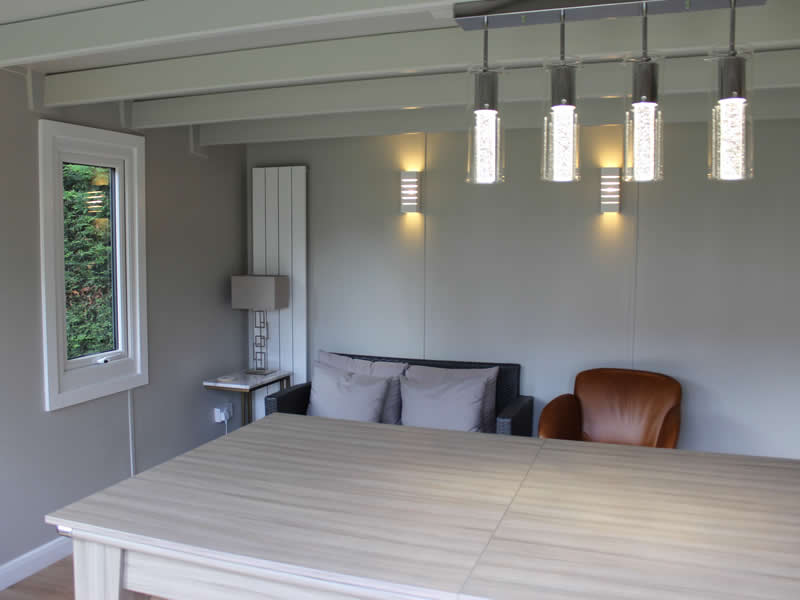 Internal view of a garden studio finished in Pavilion grey