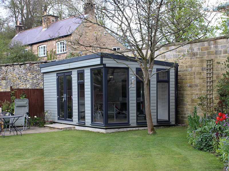 Manhattan garden room with optional glazed corner in mushroom with anthracite upvc windows and doors