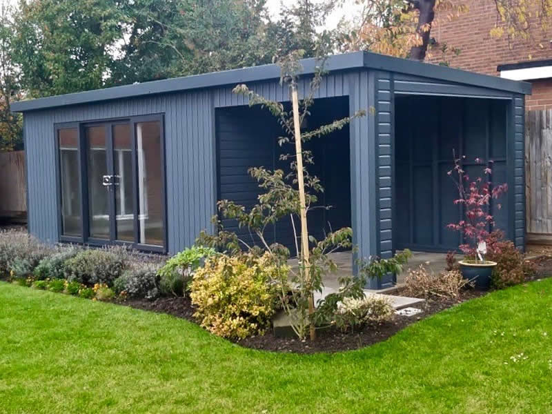 Manhattan garden room with optional outside living space in slate grey 7.5m x 3m