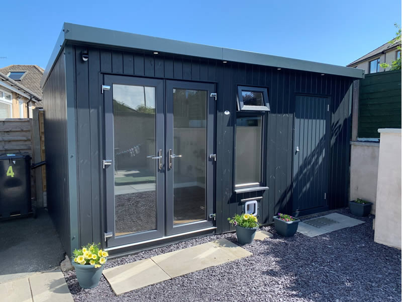 Pembroke garden room in Anthracite 4.8m x 2.4m with cat flap