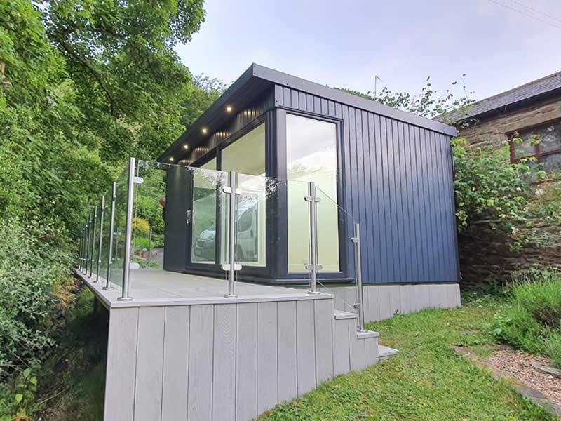 Manhattan garden studio 4.5m x 3m finished in slate grey with 3m patio door