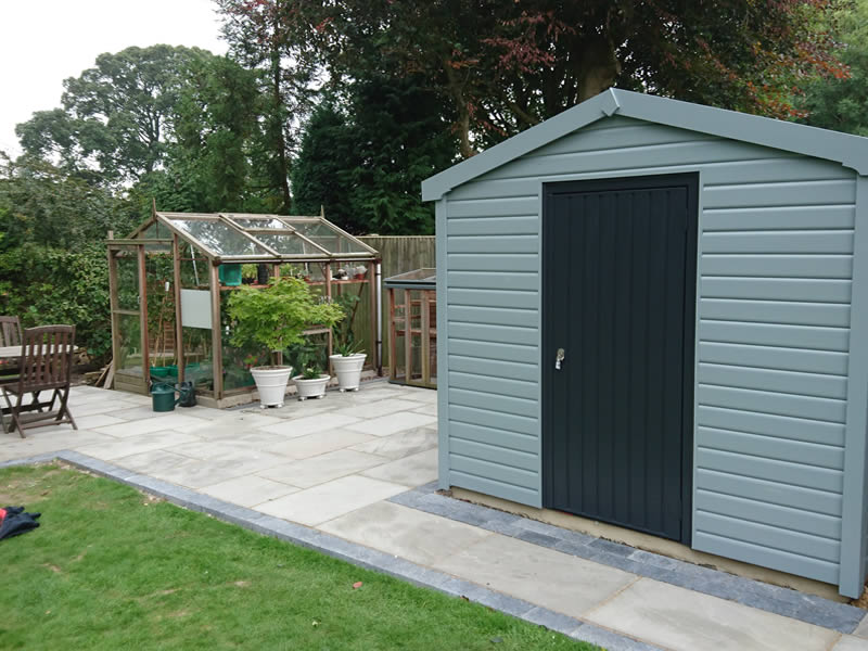 Hampton garden store 2.4m x 2.7m finished in mendip mist.