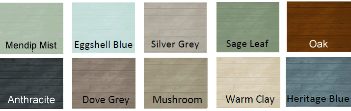 Colour chart for buildings mendip mist, eggshell blue, silver grey, sage leaf, oak stain, anthracite, mushroom, warm clay, heritage blue