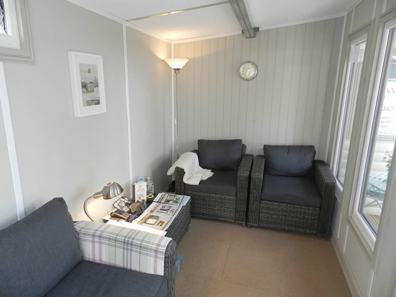 Internal View of a Garden Room with Pavilion Grey Walls.
