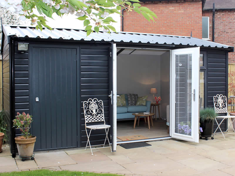 Pembroke Apex Garden room with store in Anthracite 3.048m wide x 5.481m long and anthracite roof - FRONT