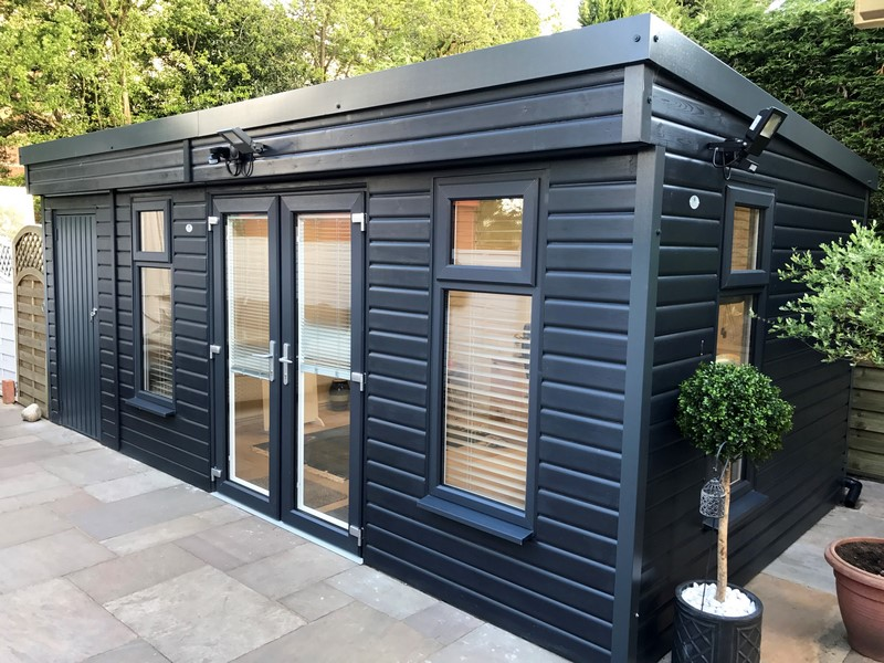 Pembroke Garden Room with Shed to the lefthand side of the building finished in anthracite colour paint